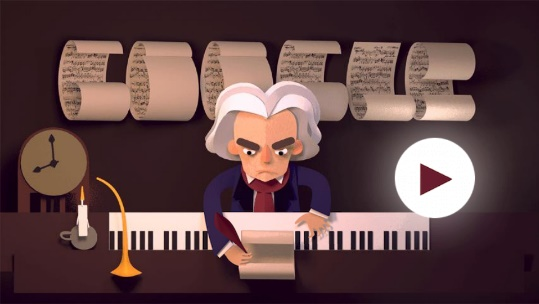 Celebrating Ludwig van Beethoven's 245th Year - дудл-игра от Google