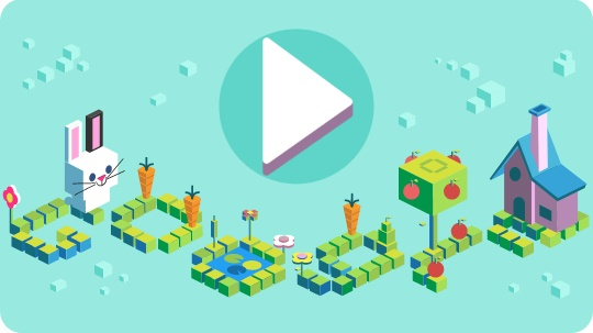 Celebrating 50 years of Kids Coding - дудл-игра от Google